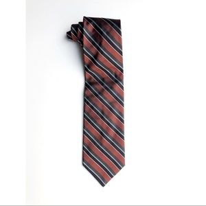 Brooks Brothers Rust Red Black Striped Tie